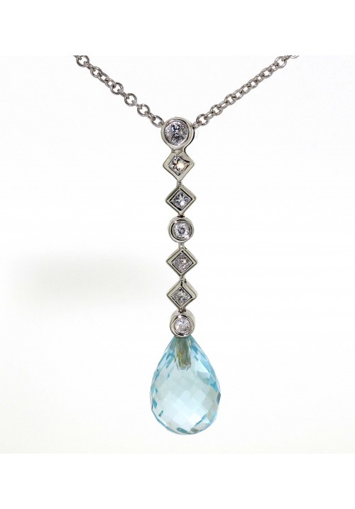 BRIOLETTE CUT BLUE TOPAZ FANCY DROP NECKLACE