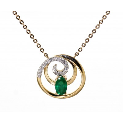 EMERALD AND DIAMOND SWIRL NECKLACE