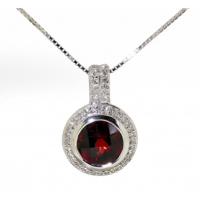 ROUND CENTRE GARNET AND DIAMOND NECKLACE