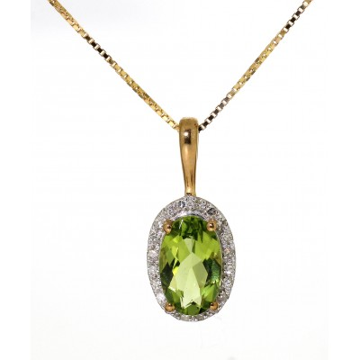OVAL CUT PERIDOT AND DIAMOND NECKLACE