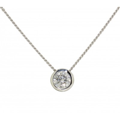 RUB OVER SET ROUND BRILLIANT CUT DIAMOND NECKLACE
