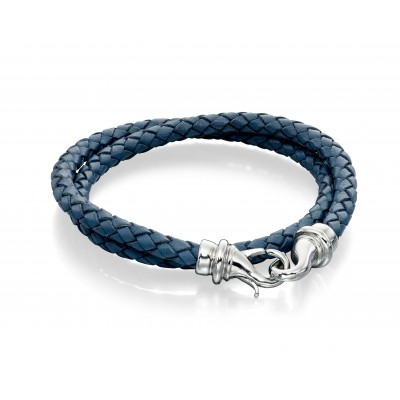 Blue Double Leather Bracelet