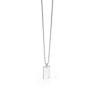 Silver and Diamond Fred Bennett Tag Necklace