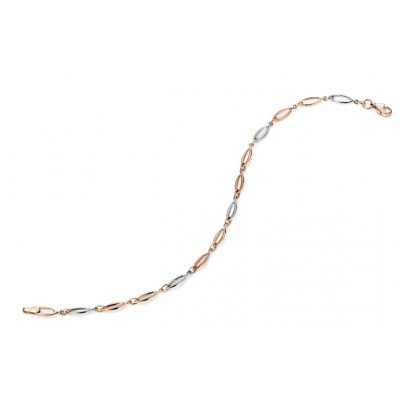 THREE TONE OVAL OPEN LINK BRACELET