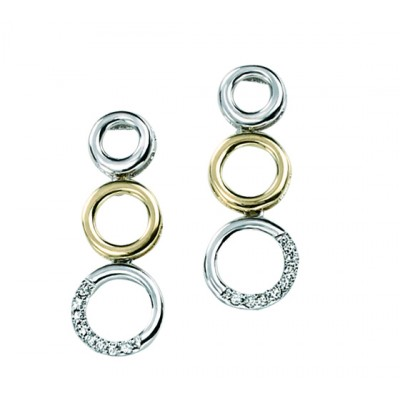 TWO TONE TRIPLE CIRCLE DROP EARRINGS WITH DIAMONDS