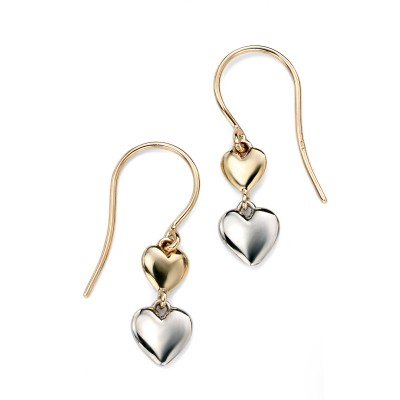 TWO TONE DOUBLE HEART DROP EARRINGS