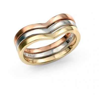 9CT THREE COLOUR GOLD WISHBONE RING