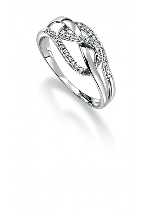 FANCY LOOP DESIGN WHITE GOLD AND DIAMOND RING