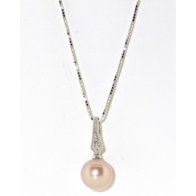 PINK FRESHWATER PEARL AND DIAMOND PENDANT