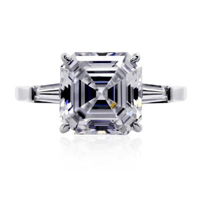 Baguette and Asscher Solitaire Ring