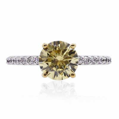 Canary Yellow Round Brilliant Ring