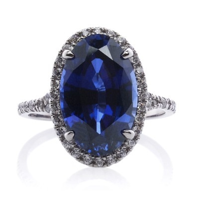 Grand Oval Synthetic Sapphire RIng