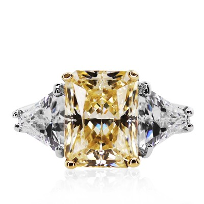 Radiant Cut Trilogy Ring in Fancy Yellow