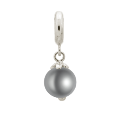 Grey Pearl Drop Charm