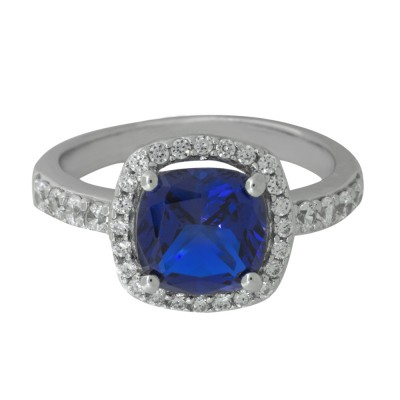 Cushion Cut Dark Blue Ring with CZ surround