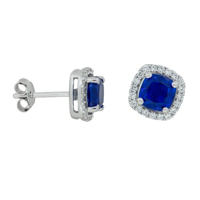 Cushion Cut Dark Blue Stud Earrings with CZ surround