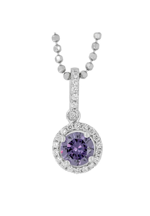 CZ and Amethyst Round Pendant