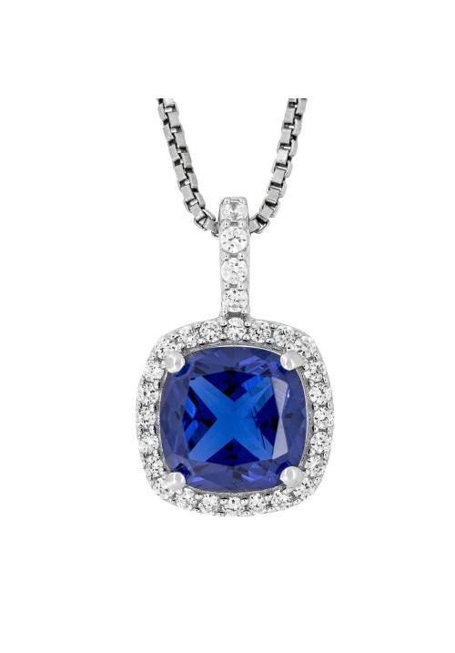 CZ and Dark Blue Stone Pendant