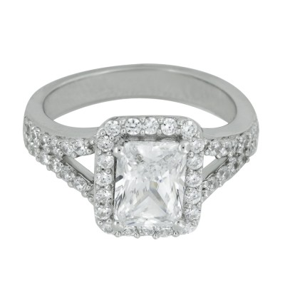 Emerald Cut CZ Split Shank Ring