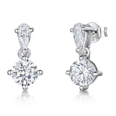 Teardrop and Round CZ Drop Earrings