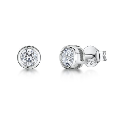Rub Over CZ Stud Earrings
