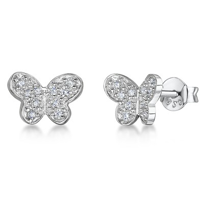 CZ Set Butterfly Earrings