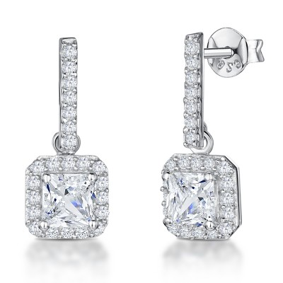 Square CZ Drop Earrings