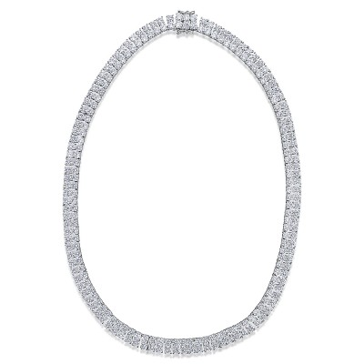 Double row CZ Tennis Necklace