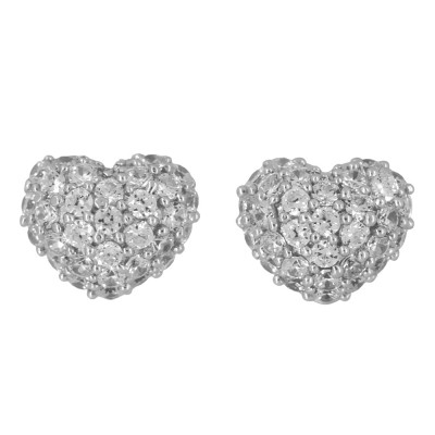 Pavé set CZ Heart Earrings