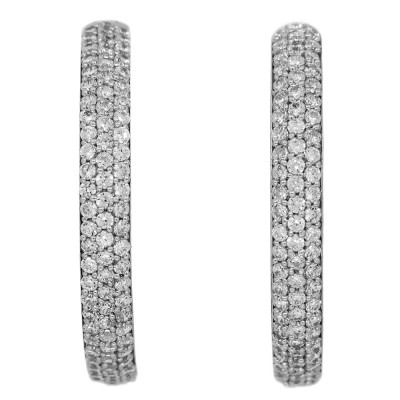 Pavé set CZ Hoop Earrings