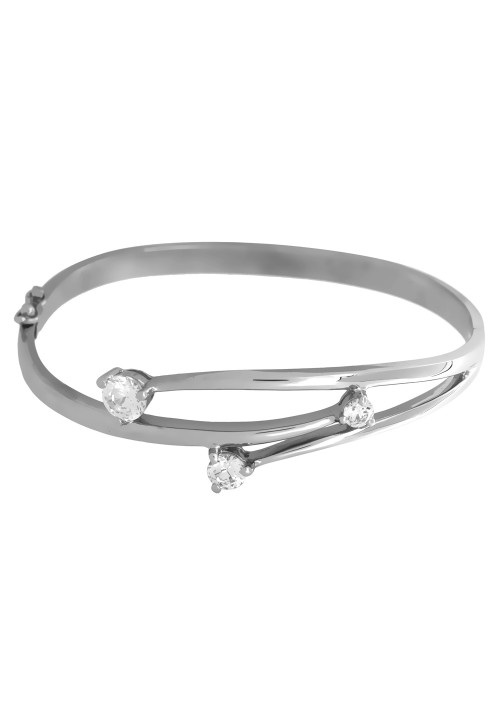 Silver and CZ  Three Stone Bangle