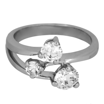 Silver and CZ Three Stone Ring