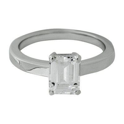 Silver and Emerald Cut CZ Ring with Platinum Finish