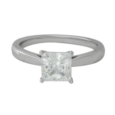 Silver and Princess Cut CZ Ring with Platinum Finish