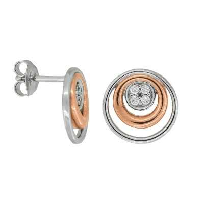 Silver and Rose Gold Plated Double Circle Earrings