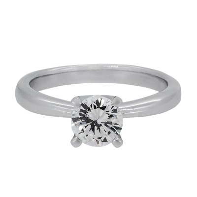Silver and Round Brilliant CZ Ring with Platinum Finish