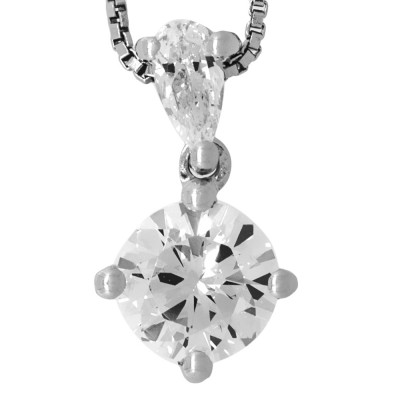 Teardrop and Round CZ Pendant