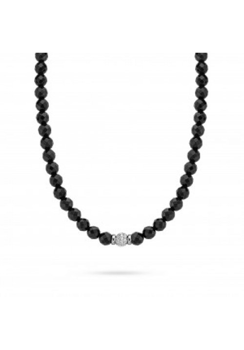 Black Beaded and CZ Necklace