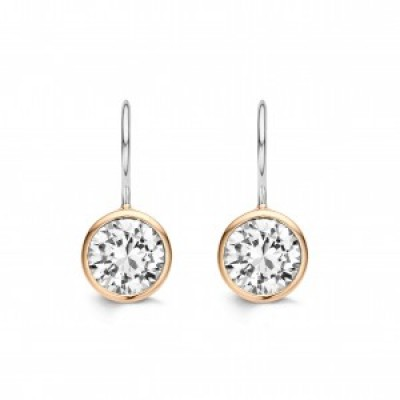 CZ Drop Earring With Rose Gold Plating