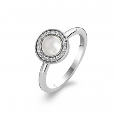 Milky White Stone and CZ Ring