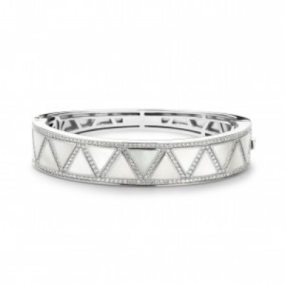 White Mother of Pearl and CZ Bangle