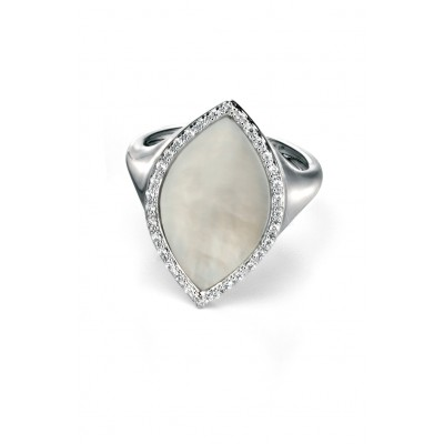 Mother of Pearl and CZ Marquis shaped ring