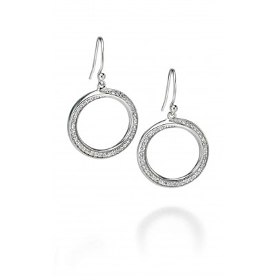 Open Circle CZ Drop Earrings