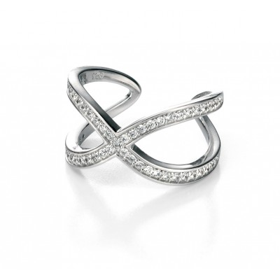 Pave set CZ ring with twist