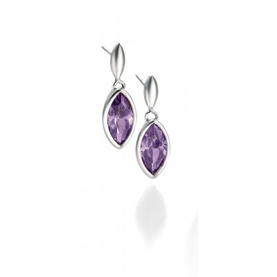 Purple CZ Drop Earrings