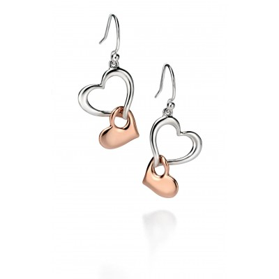 Two Tone Drop Heart Earrings