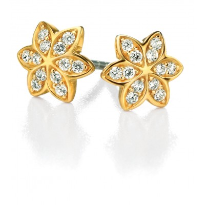 CZ Silver Flower Stud Earrings with Gold Plating