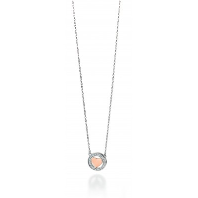CZ Silver Heart Pendant With Rose Gold Plating
