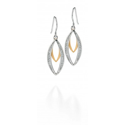 Openwork CZ Drop Earrings with Yellow Gold Plate