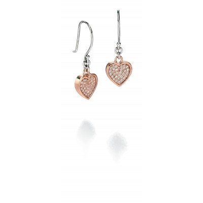 Rose Gold Plated Heart Drop Earrings